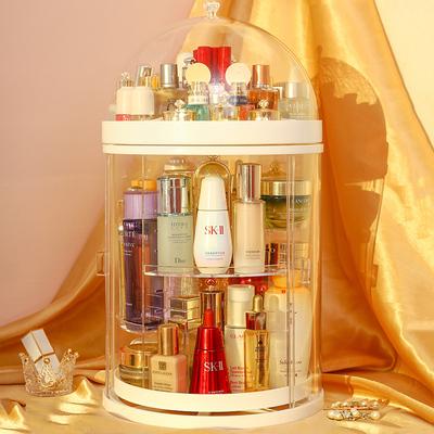 网红防尘旋转化妆品收纳盒宿舍桌面透明大容量梳妆台亚克力收纳架
