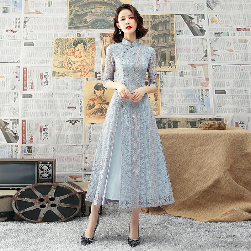 蕾丝旗袍长款2020新款秋天气质现代风日常年轻款改良版连衣裙奥黛
