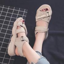 新款一鞋两穿尖头单鞋中跟2020达芙妮包头凉鞋女夏仙女风低跟粗跟