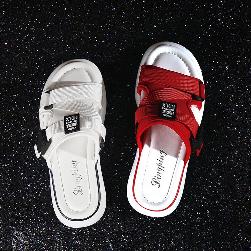 網紅拖鞋女外穿時尚2020夏季新款情侶厚底孕婦大碼半托沙灘涼拖鞋