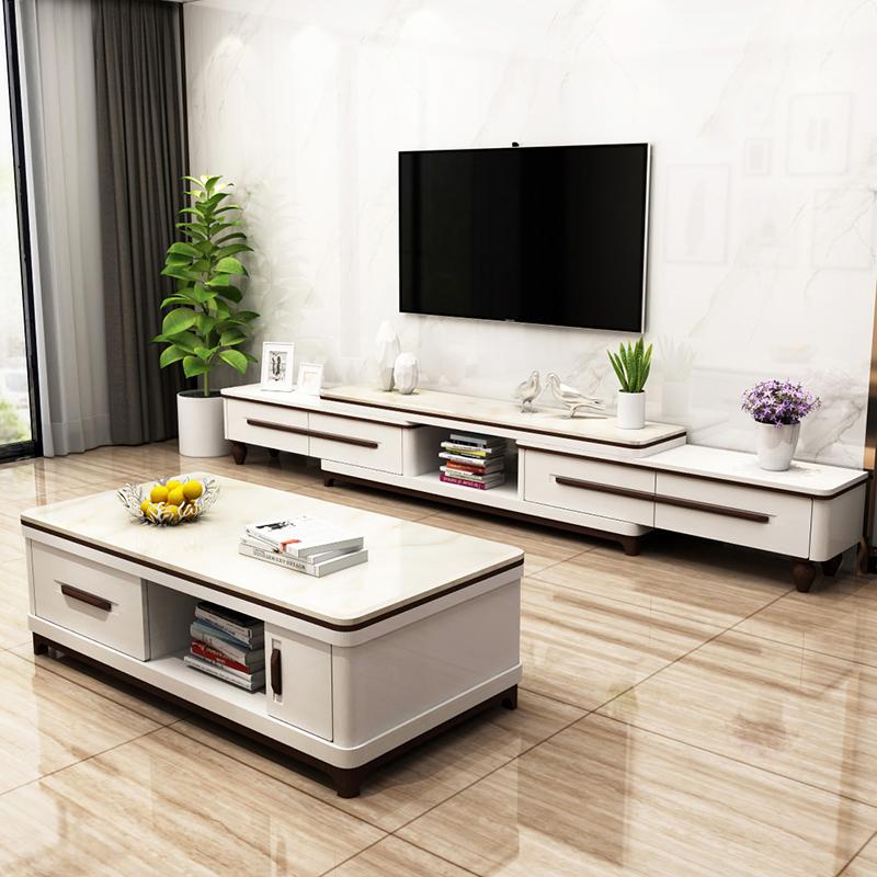 电视柜茶几组合套装现代简约大理石北欧伸缩客厅电视机柜影视墙柜