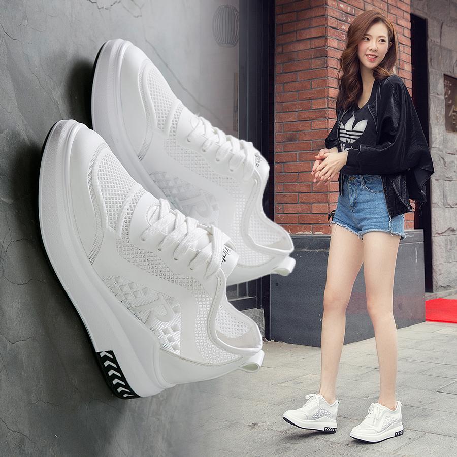 内增高女鞋厚底网面透气小白鞋女春夏2020新款街拍显瘦百搭运动鞋
