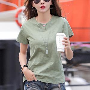 宽松短袖纯色薄款体恤衫竹节棉t恤