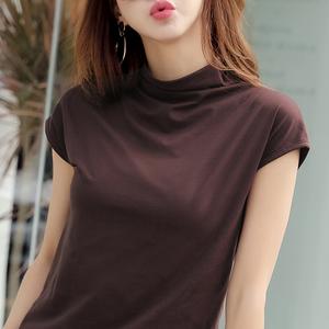 春夏新款半高领短袖T恤女修身棉布纯色无袖半袖打底衫薄上衣女装