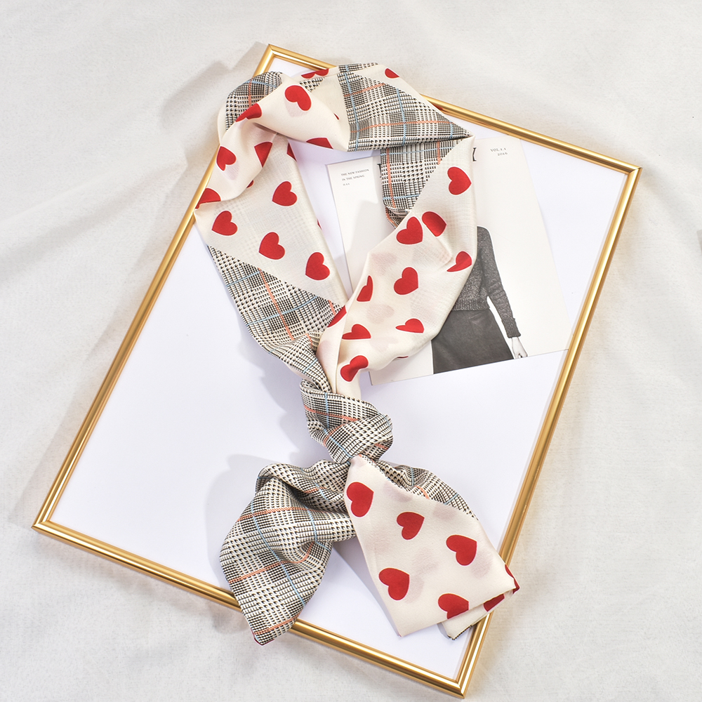 Silk scarf womens versatile spring and autumn new long scarf decorative clothing professional Korean small scarf stripe small scarf tie hair band