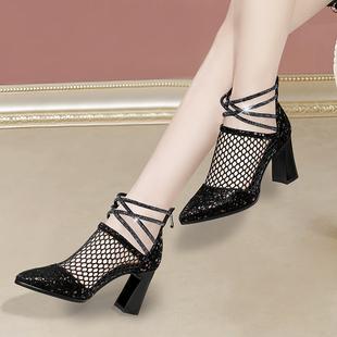 網紗高跟鞋女2020春夏新款羅馬尖頭涼靴粗跟鏤空網靴高幫大碼涼鞋
