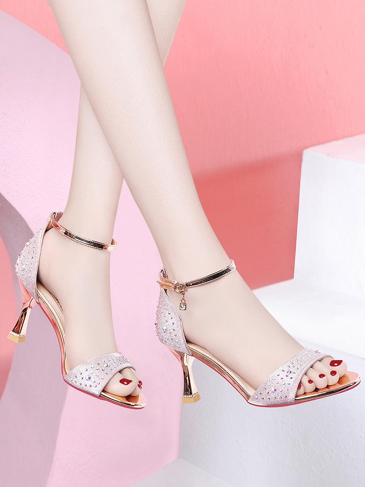 High heeled womens stiletto fairies 2020 new summer fashion versatile open toe mid heel with mother sandals