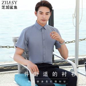 芝加鲨鱼夏季短袖白衬衫商务休闲正装修身不贴身清爽面料免烫抗皱