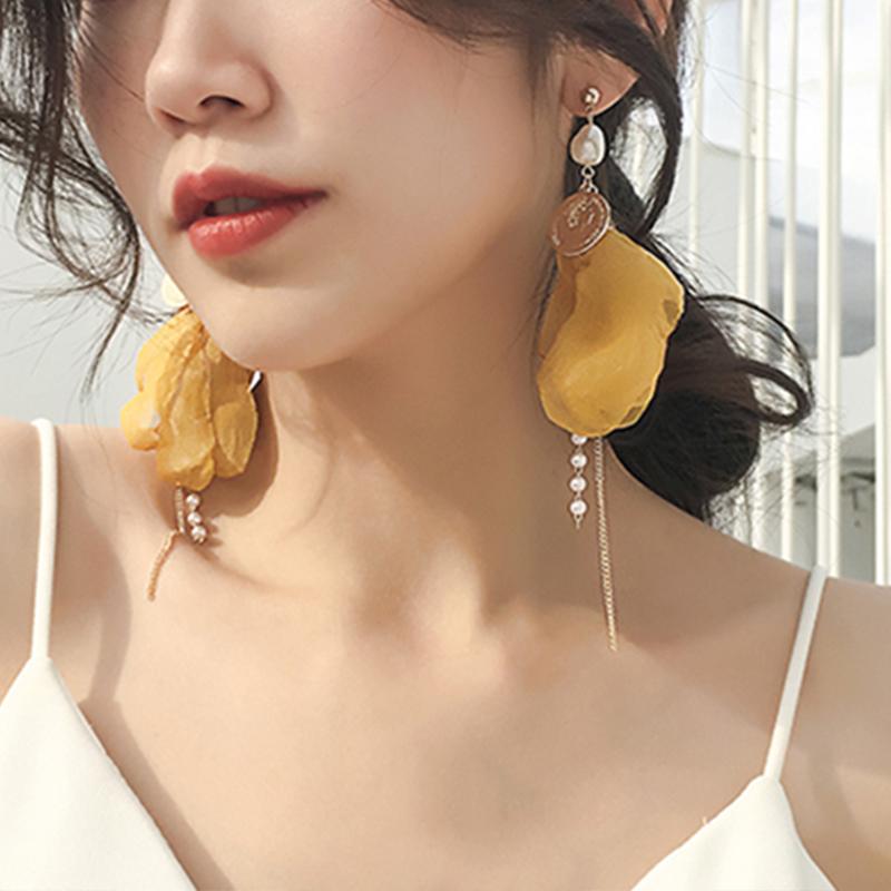 Earrings womens long fabric flower temperament pearl earrings earrings Chaowang Red Fairy Earrings super fairy petal tassel