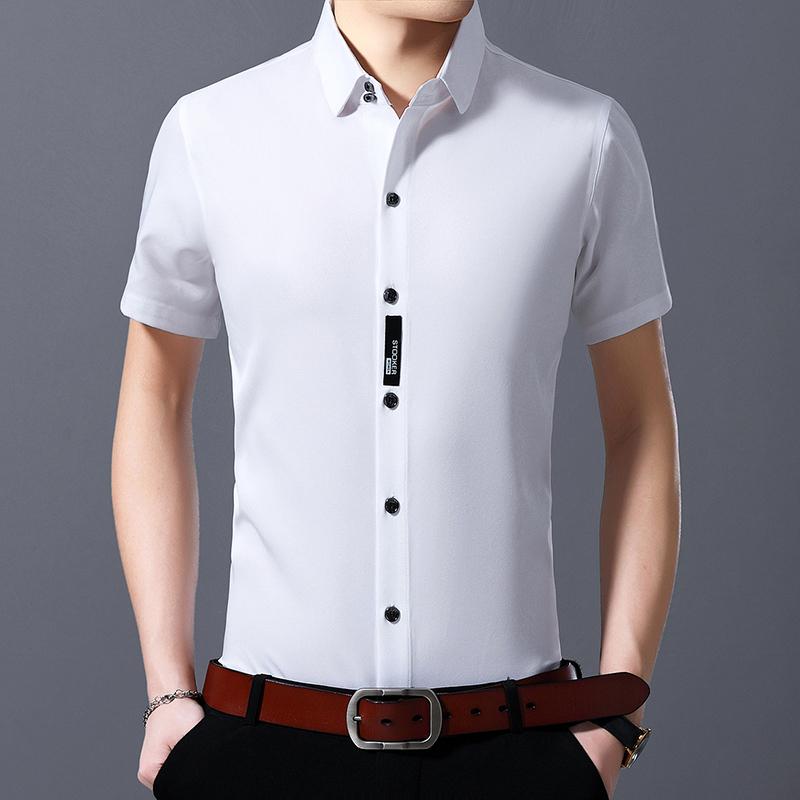 2019夏季短袖衬衫男韩版T恤衫男纯色商务休闲男装爸爸装P43
