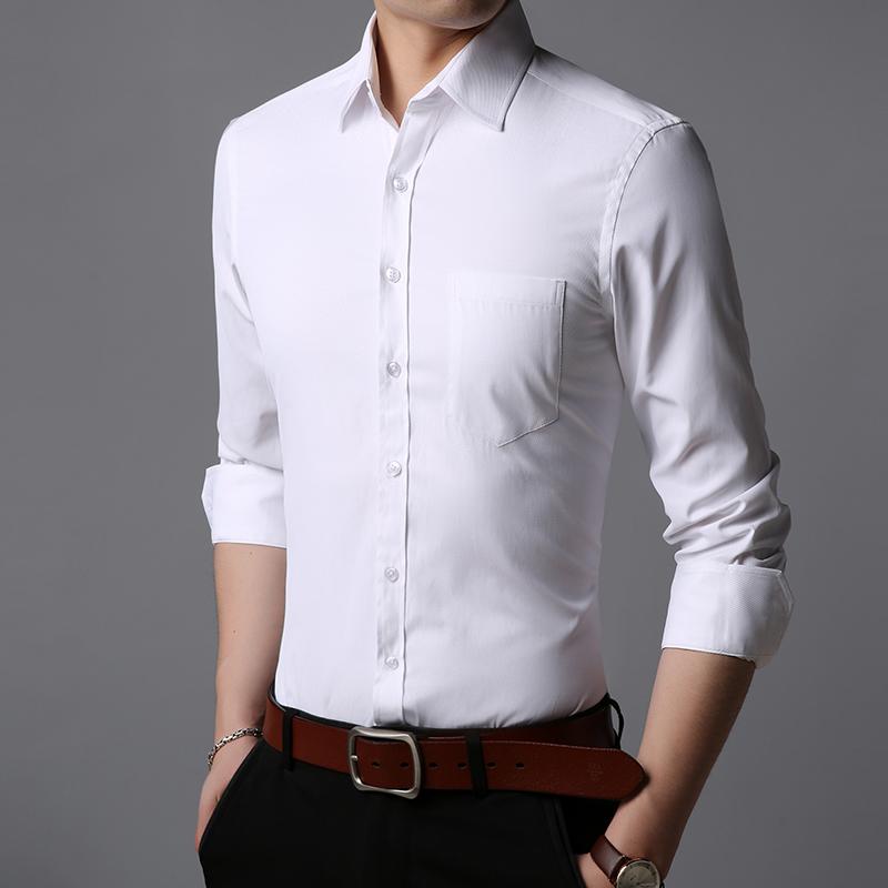2019秋季款长袖衬衫男商务休闲男装纯色韩版外套打底衫爸爸装P48