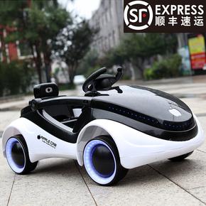 科幻儿童电动汽车四轮闪光带遥控可坐人男女宝宝摇摆充电玩具童车