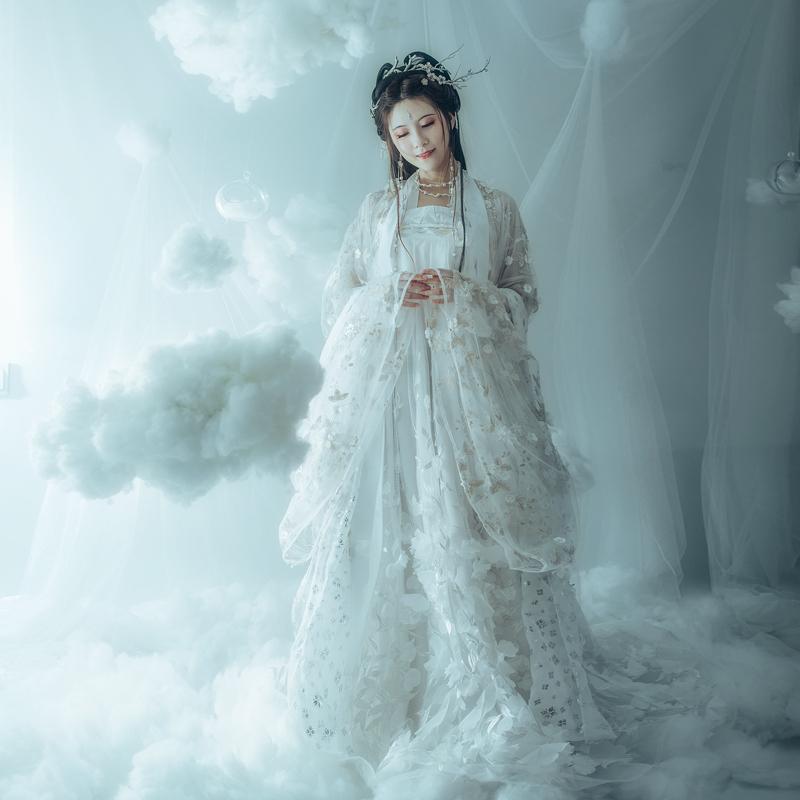 华姿仪赏明月光  原创设计汉服齐胸大袖衫秋冬新品女装 非古装