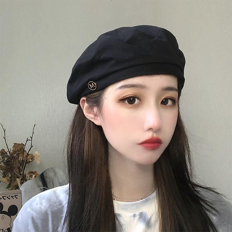 贝雷帽女春夏百搭黑色ins八角帽子网红韩版日系英伦复古画家帽潮
