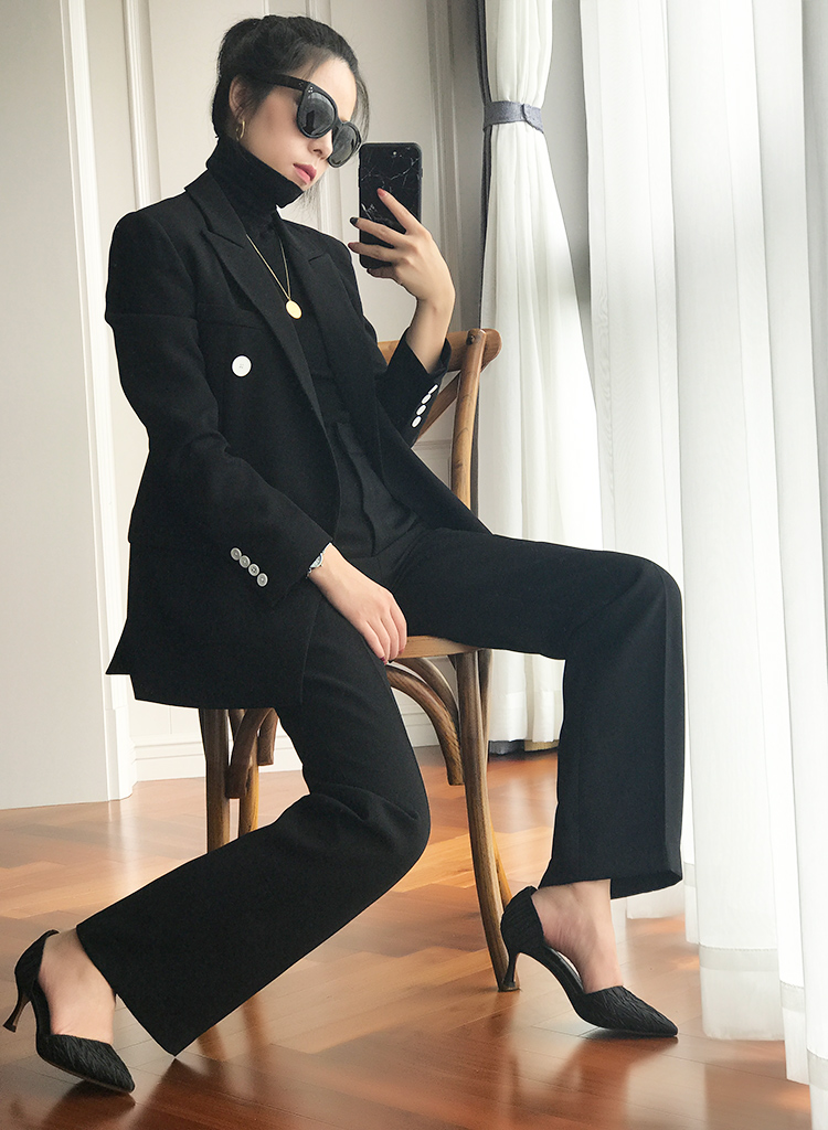 European and American ins Blazer womens 20 new spring and autumn double breasted high-end suit suit suit