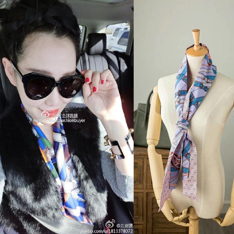 两种风格!雅致大气经典卡瓦尔真丝斜纹长丝巾领带双面大飘带发带