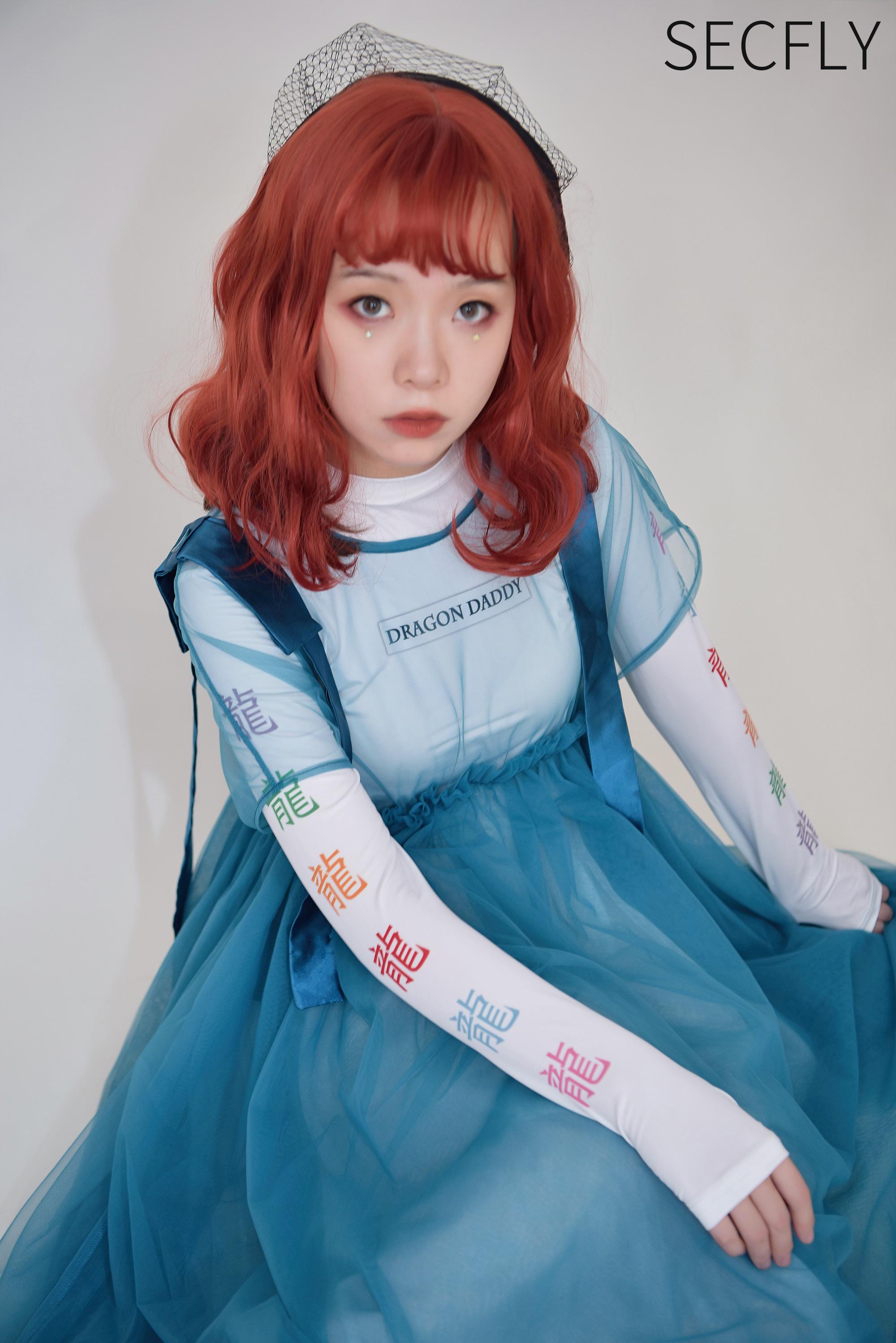 SECFLY【Dragon Daddy】孔雀蓝龙王刺绣卫衣纱裙