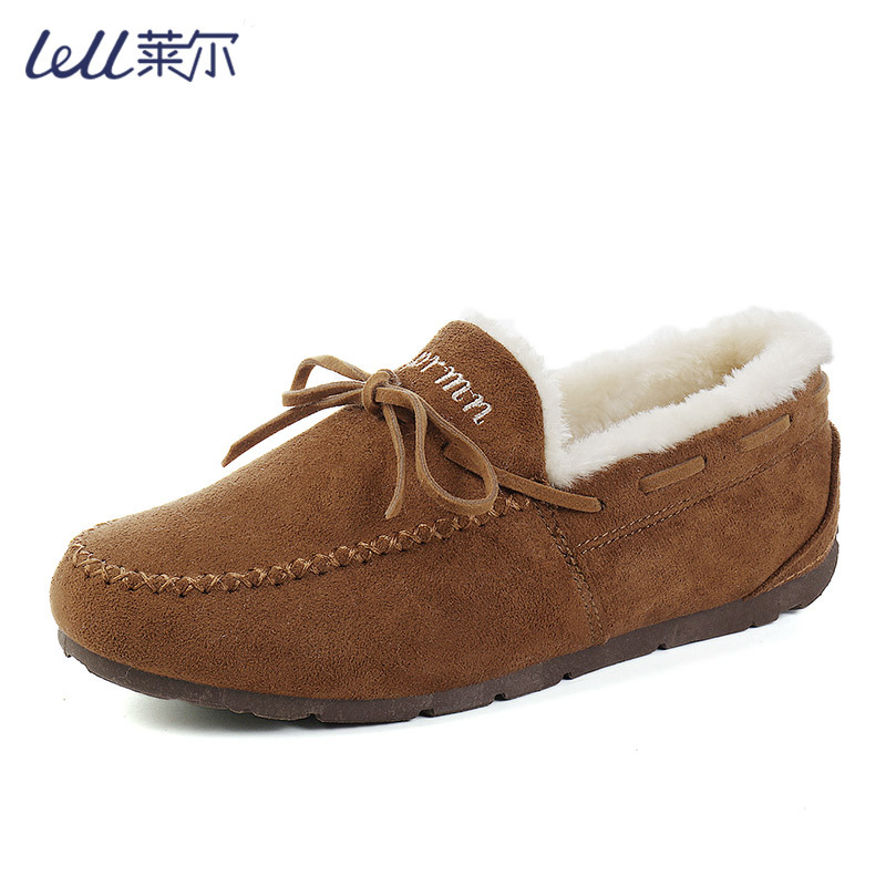 [processing and customization] Plush low top flat bottom pea shoes for leisure, one foot riding home cotton shoes for female students to keep warm
