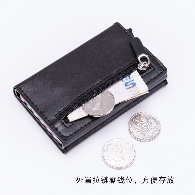 2019 foreign trade multi-functional aluminum automatic pop-up card bag RFID anti-theft swipe clip Zipper Wallet