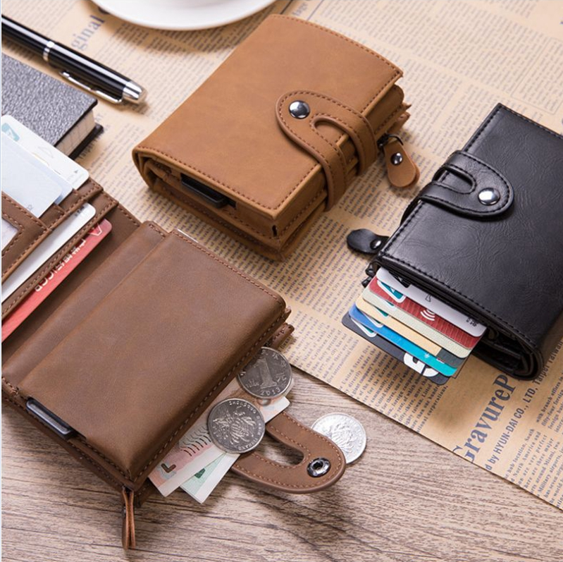 2019 new mens automatic elastic card bag multi function anti theft and anti magnetic RFID NFC Card Box Coin Wallet