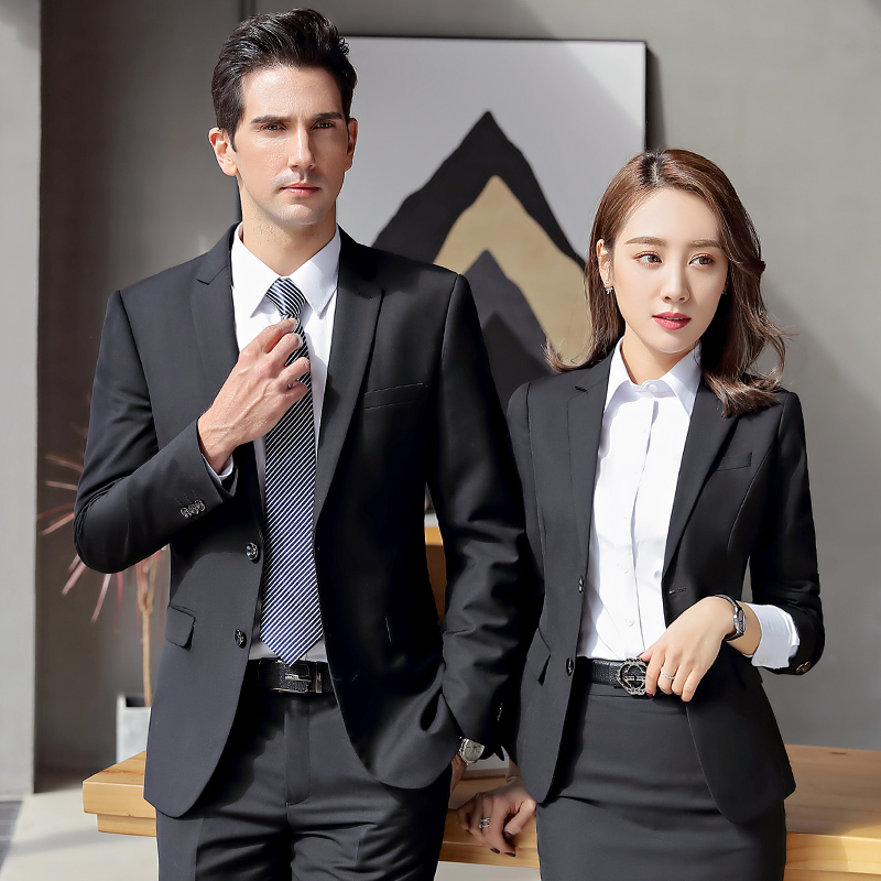 职业装男装套装男女同款时尚西装正装韩版面试西服银行工装工作服