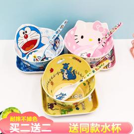 儿童碗防摔餐具套装密胺卡通碗勺大童防烫可爱创意家用宝宝小孩碗图片