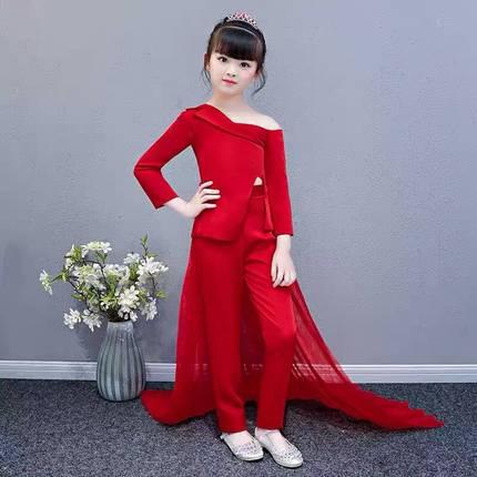 出租出售儿童走秀西装女童模特潮服时装演出服创意西服红色白色