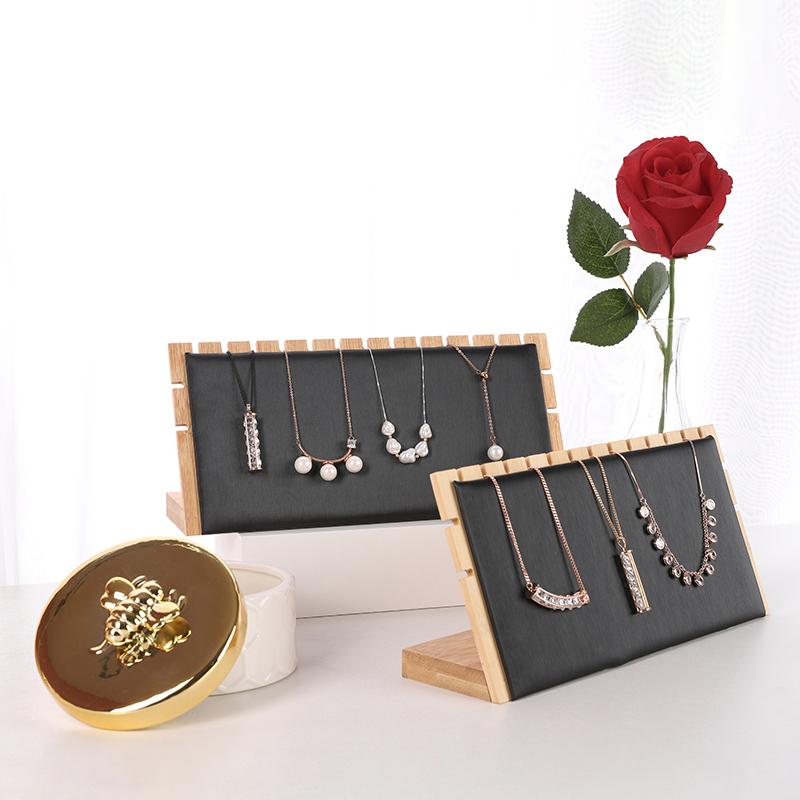 锦瑟陈列  项链手链实木皮革陈列展架  商家柜台橱窗珠宝展示道具