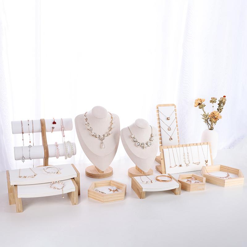 锦瑟陈列 实木首饰陈列套装 项链手链戒指展示架 商家珠宝展示道