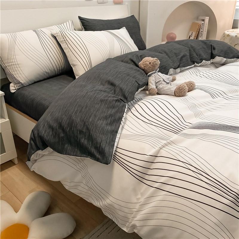 水星家纺北欧风全棉床上用品四件套纯棉床单被套床笠款春秋学生宿