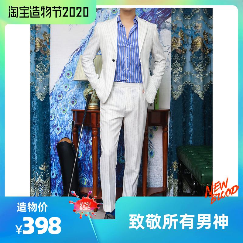 睿仕先生绅士正装春夏薄款休闲西装修身英伦韩版新郎伴郎条纹西服
