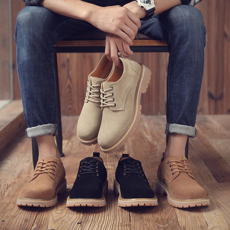 男鞋春季真皮马丁鞋复古低帮工装鞋潮靴英伦皮鞋夏百搭休闲鞋子男