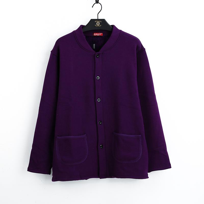 男女士加绒加厚中老年保暖内衣开衫外穿开身老人上衣开襟棉质秋衣