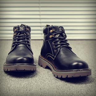 马丁靴男秋季百搭男靴男士韩版潮雪地皮靴短靴中高帮鞋工装靴子男价格