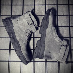 加絨雪地靴子男士 工裝 短靴英倫中幫皮靴 馬丁靴男春季 潮流高幫棉鞋