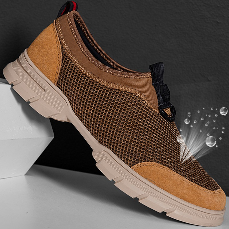 Authentic Jonah adida summer breathable real leather shoes mesh mens casual shoes sandals mesh lazy shoes sports
