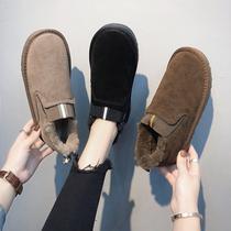 雪地靴女短筒2019新款冬季韩版百搭情侣款一脚蹬加绒厚底学生棉鞋