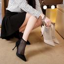 时装 细跟性感凉靴 网红罗马凉鞋 2020新款 女镂空网纱夏季 尖头高跟鞋