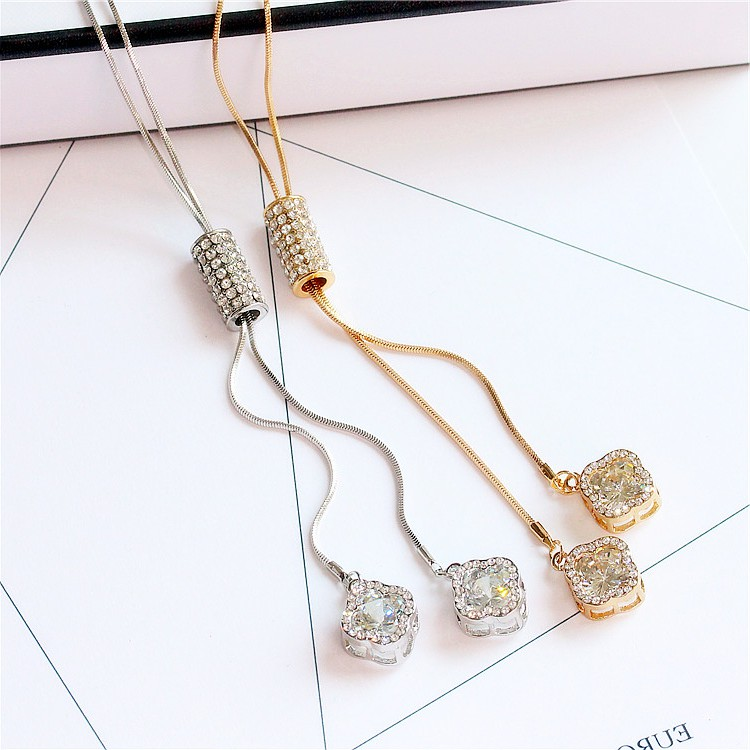 Japan buy DD Korean zircon crystal tassel sweater chain Korean version mix and match flower long necklace simple and fresh head