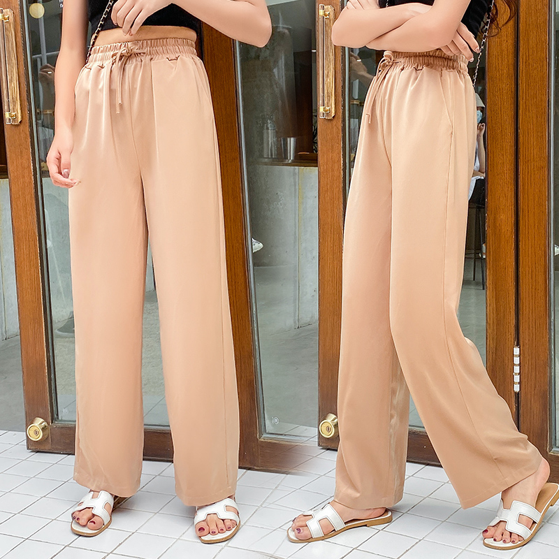 Wide leg pants womens high waist droop summer thin loose straight tube show thin pants cloud pants Chiffon casual pants floor pants