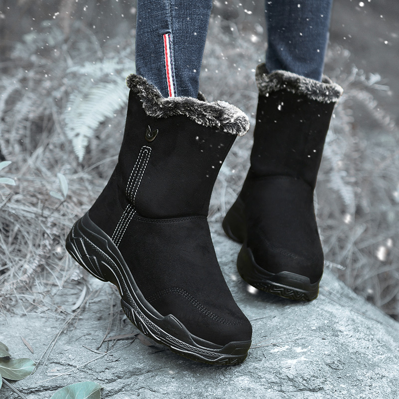 Yijiabao new womens winter mid tube anti slip and warm snow boots with plush and thickened northeast cotton shoes