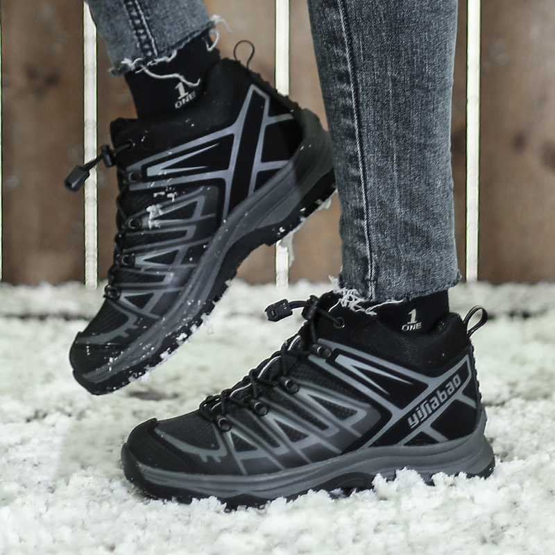 Yijiabao winter travel fashion simple womens boots outdoor sports shoes thick bottom warm leisure flat bottom anti slip cotton shoes
