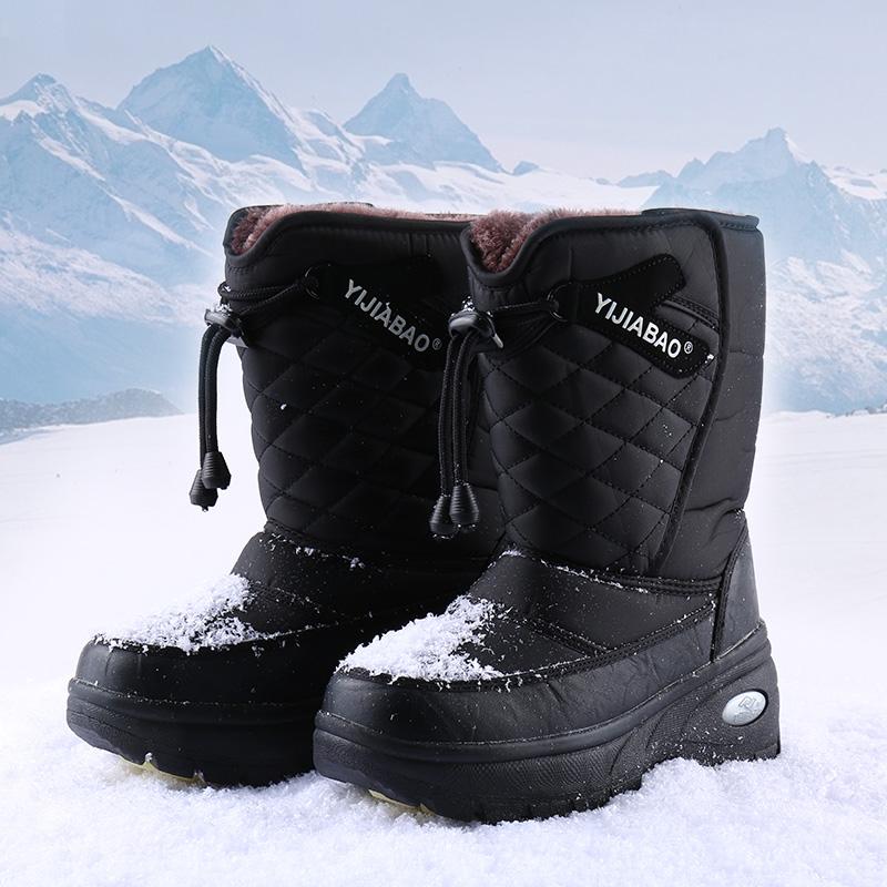 Yijiabao winter medium tube northeast cotton shoes simple casual couple shoes antiskid warm ski boots girl