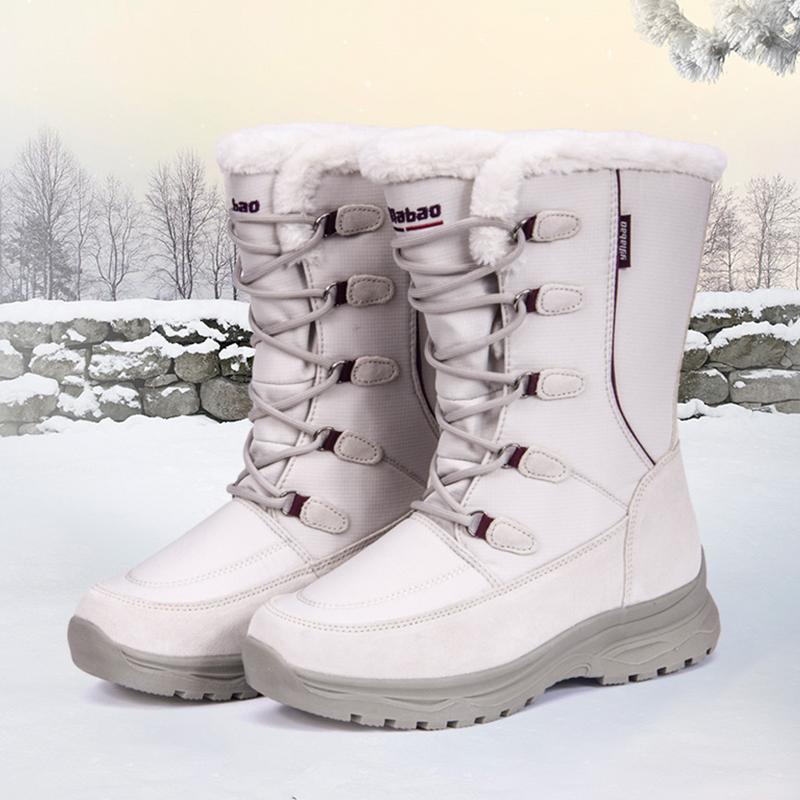 谊嘉宝新款女冬季高筒防滑保暖雪地靴加绒加厚东北大棉鞋女士户外