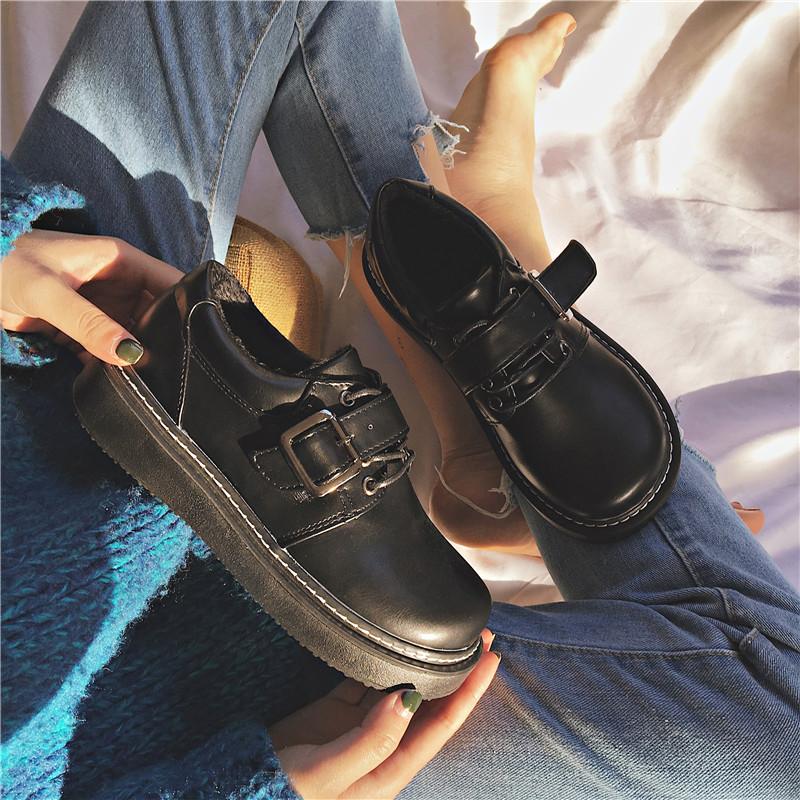 女英伦复古厚底2021新款配jk小皮鞋评测参考