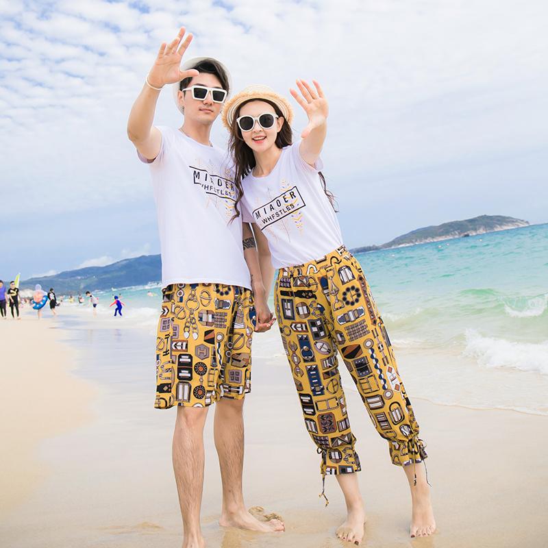 海边度假蜜月旅游沙滩裤情侣装套装海滩衣服亲子装一家四口全家装