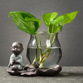 创意绿萝水培植物玻璃透明养花花瓶插花容器花盆器皿桌面装饰摆件