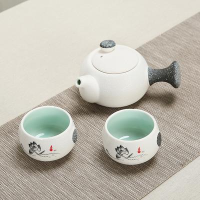陶瓷功夫旅行包茶具套装小茶杯盘茶壶开业赠品活动送礼品定制logo