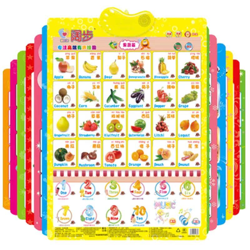 阔步拼音有声挂图儿童启蒙早教墙贴宝宝看图识字认知语音发声挂图