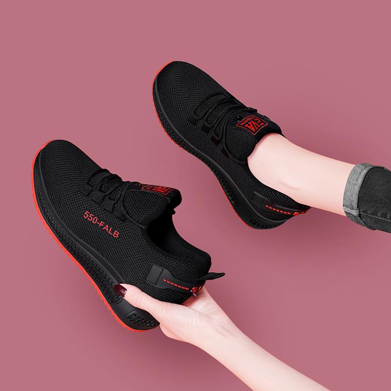 内增高运动鞋轻便网鞋透气网面黑色飞织2020夏季新款女鞋子休闲鞋图片